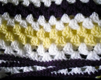 Crochet Blanket, Purple and Yellow Granny Square Blanket, Baby blanket, Lap Blanket FREE UK SHIPPING