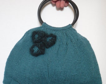 Hand Knitted Bag, Green Handbag with Round Handles