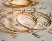 """2"""" Rose Gold Hoops Hinged Hoop Earring Hammered Wire Jewelry Lightweight Brushed Metal Earring Tribal Jewelry 1.5"""", 2"""", 2.5"""", 3"""""""