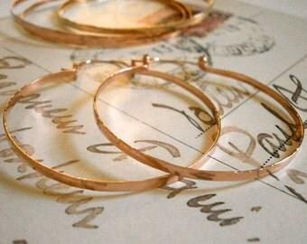 "2"" Rose Gold Hoops Hammered Hinged Hoop Earrings Pink Gold Hoops Wire Jewelry Classic Hoop Tribal Jewelry"
