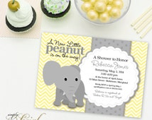 Elephant Baby Shower Invitation - Yellow Chevron and Grey Little Peanut is on the Way Gender Neutral Shower Invite Printable