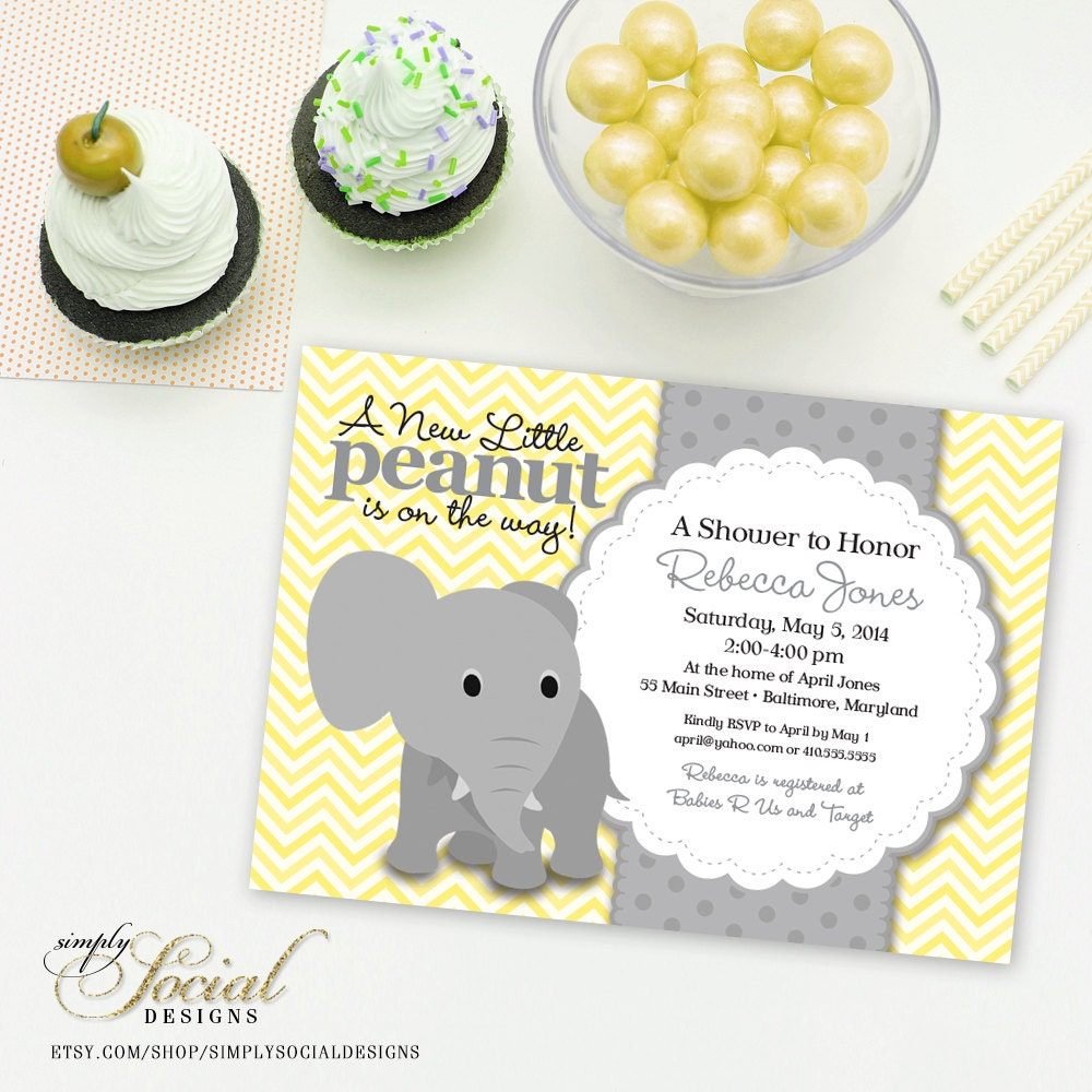 Elephant Baby Shower Invitation - Yellow Chevron and Grey Little ...