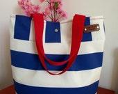WATERPROOF Tote Bag Striped Beach Bag Quilted Interior Diaper Bag BLUE WHITE Striped Hobo Shoulder Handbag 4 big Pockets