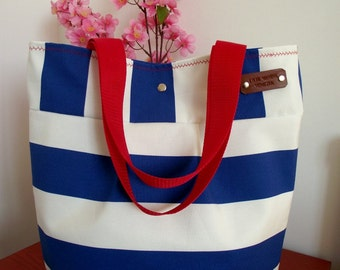 Striped Beach Bag Tote Bag Diaper Bag BLUE WHITE Stripes Hobo Shoulder Handbag heavy canvas water resistant beach bags preppy bags