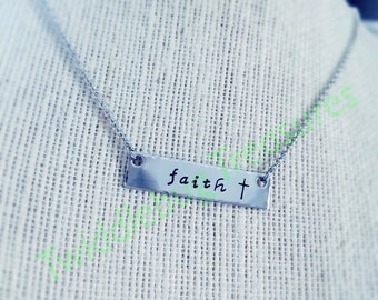 Faith Necklace - Inspirational Necklace - Rustic -Stainless Steel - Hand Stamped Necklace - Religious
