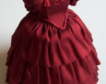 Beautiful handmade 1/12th scale miniature dollhouse gown in rich red silk