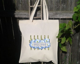Wedding Welcome Tote Bag -Bridesmaid Bag - Flower Girl  - Catus and Flowers, Wedding Favor