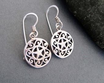On Sale Sterling Silver Pentacle Earrings Artisan Handmade Star Pentagram Earrings Metal Metalsmith Modern Wiccan Jewelry