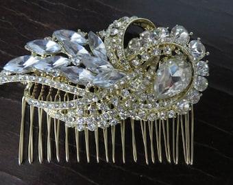 Wedding Hair Accessories   Gold Hair Comb Crystal Bridal Comb   Gold Headpiece Wedding Headpiece