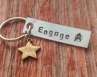 "Hand stamped ""Engage"" Star Trek inspired keychain with star charm"