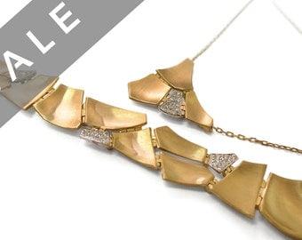 SALE - Set of Gold and Diamond Bracelet and necklace, Diamond Bracelet, Diamond necklace, Designer Bracelet, Solid Gold Bracelet