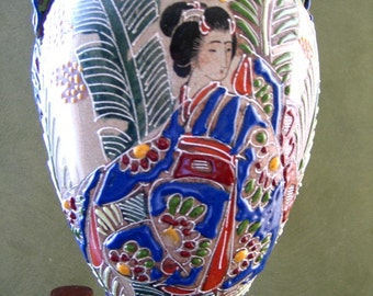 JAPANESE SATSUMA Style Vase Regenstein Early to Mid 20th Century