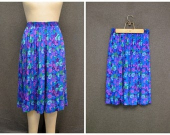 1970s Floral Pleated Skirt