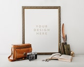 Rustic Gold Frame with Vintage Camera and Feathers, Stock Photography, Product / Frame Mockup Frame Mock Up, Wall Art Display Template