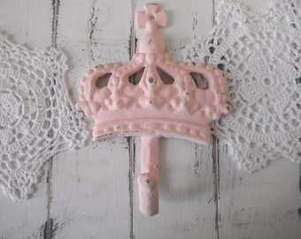 light pink crown hook girl nursery decor baby decor shabby coat hook jewelry hanger coat hook pink french country pink hook wall hook