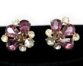 Pretty Amethyst Purple Rhinestone Earrings - Screwback Style ca. 1950s