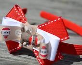 Girl Headband - Sock Monkey Red Button Baby headband