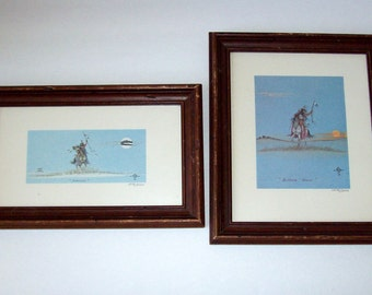 native american art johnny tiger jr. limited edition prints framed set of two buffalo scout and farewell numbered 1879/3000 home decor