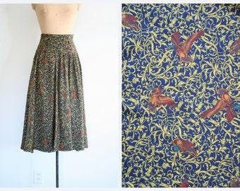 ladies pheasant print boot skirt - 80s preppy print skirt / wassail party skirt - 1980s preppy skirt / bird & scroll print skirt