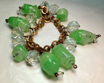 Vintage Charm Bracelet Mad Men Green Murano Art Glass Venetian Glass