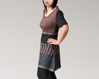Fancy Women dresses/Brown Gris dresses/Patchwork tunique/prom dress/Short women tunics