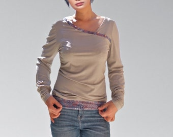 Womens Gray jersey Shirts/tops/ Mixed fabris blouses/cache-coeur sweaters/gift ideas/French made