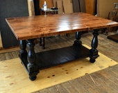 Beautiful Large Kitchen Island Ebony Finish Legs And Shelf 2 Inch Thick Solid Maple Top With A Chestnut Finish