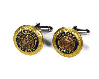 Steampunk Cufflinks Mens RARE Vintage AMERICAN LEGION Uniform Brass Blue Enamel Button, Groom Husband, Fathers Day Gift - Steampunk Boutique