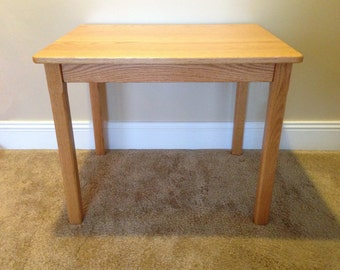 """Wood Children's Table 24"""" H Honey Brown Oak Mission Style - Quality Children's Furniture Made to Order"""