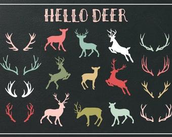 Valentine Deer and Antler Clipart | Deer Silhouette | Antler Silhouette | Valentine Clipart |Reindeer | Flying Deer