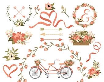 Wedding Clipart | Laurel Clipart | Wreath Clip Art | Bike Clip Art | Vintage Tandem Bike | Vector Graphics | Blog Graphics