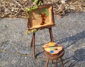Fairy Furniture Dollhouse Miniature ARTIST EASEL Doll House Twig Furniture Fae
