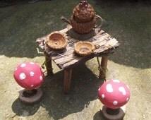 Dollhouse Miniature Fairy Furniture TEAPOT MUSHROOM TABLE Doll House Twig Furniture Fae