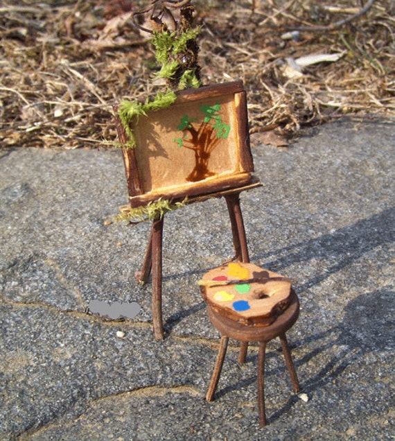 Dollhouse miniature art easel and painting fairy garden kit for How to make miniature garden furniture