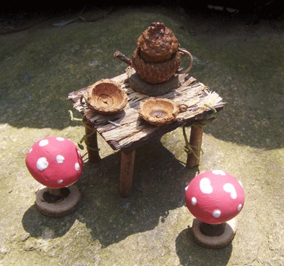 Dollhouse Miniature Fairy Furniture TEAPOT MUSHROOM TABLE Doll