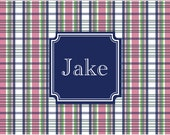 Monogrammed Laminated Placemat  PLAID