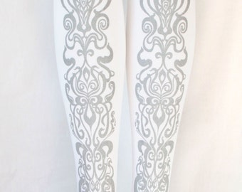 S M Art Nouveau Tights Silver on White Women Mucha Style Dolly Kei Steampunk Lolita Small Medium