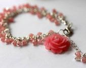 Pink Jade Bracelet, Gemstone Bracelet, Beaded Bracelet, Dangle Charm Bracelet, Statement Bracelet, Bridal Jewelry, Modern, Summer, Valentine