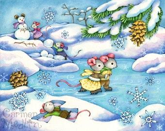 Winter Fun - Mouse Art 8.5x11 Print