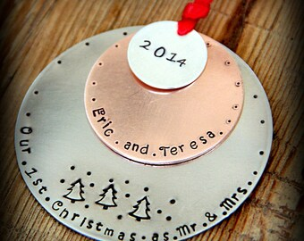 Mr and Mrs Ornament - Christmas ORnament - Our First Christmas - Newlywed Ornament - Mr and Mrs- Wedding Ornament - Wedding Gift- Ornament