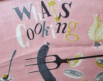 Pink sausage. Vtg midcentury Lois Long linen kitchen towel / What's Cooking series pink / campfire hot dog sausage onion rings cookout