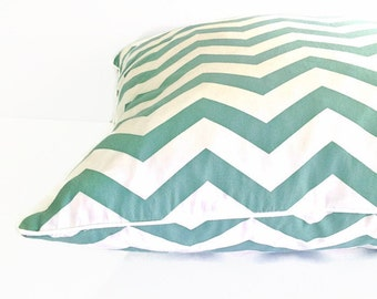 Mint Chevron cushion cover..Cover only