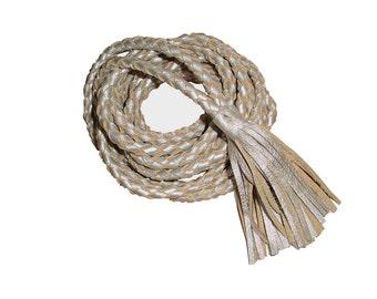 Tassel Belt Braided Leather Rope Belt, Braided Coat Belt, Gold Leather Rope Necklace,Tie Belt,  XS, S, M, L