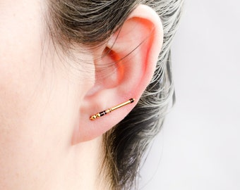Vintage Shell & Gold Beads Pin Earrings, Mixed Beads Ear Cuffs, Beaded Ear Lines, Minimalist Ear Sweep, Chic Modern Jewelry, Hand Made,EC005