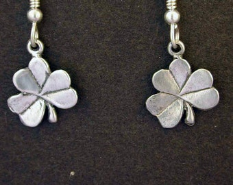Sterling Silver Shamrock Clover Earrings on Heavy Sterling Silver French Wires