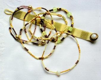 "Handmade Peyote Bracelet and 5 Bangles/One ""Glow in the Dark"" Bangle"