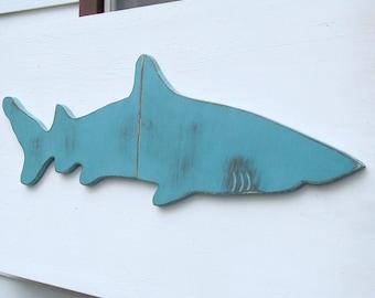 SALE super sized shark wood wall art