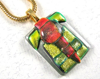 Dichroic Glass Abstract Layers Pendant - Orange Copper Rusty Red Gold Golden Yellow Fused Glass on Clear Cathedral Backing - 1.25""