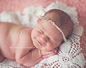 Newborn Headband..Newborn Flower Headband..Flower Headband..Ivory Flower Headband...Newborn Baby Girl Headband..Photo Prop..ivory..Fay