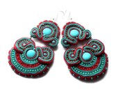 soutache earrings - red and turquoise -  free  shipping